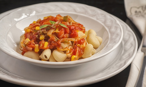 The Corn and Tomato Salsa served with pasta
